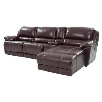 Theodore Brown Power Motion Leather Sofa w/Right Chaise