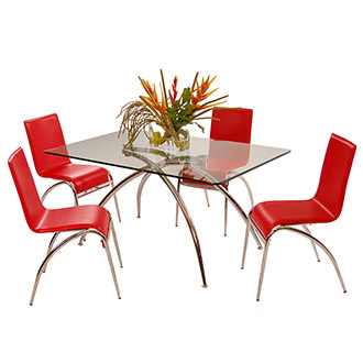 Elaine Red 5-Piece Casual Dining Set