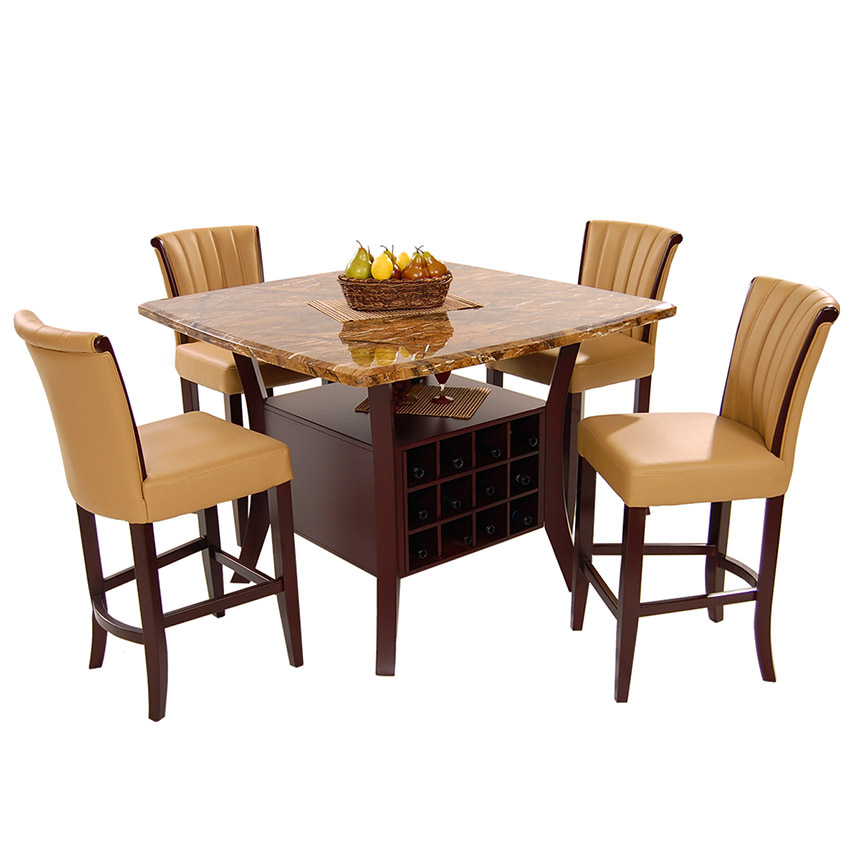 Meredith Tan 5-Piece High Dining Set  main image, 1 of 9 images.
