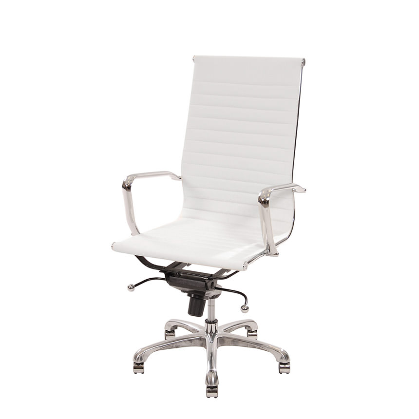 Watson White High Back Desk Chair  main image, 1 of 6 images.