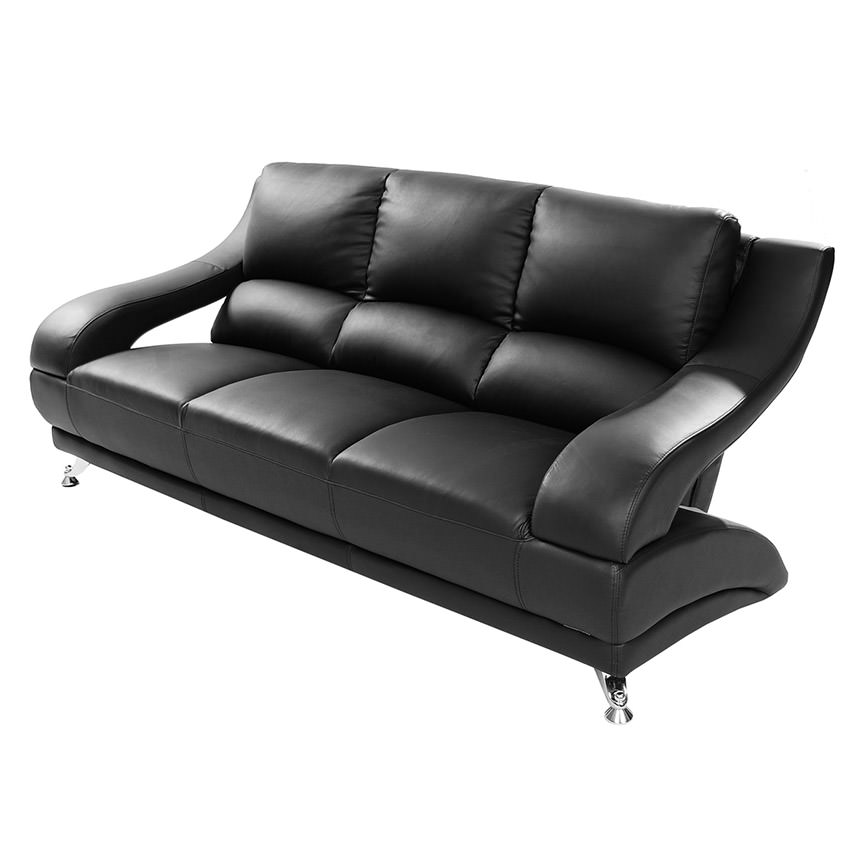 Jedda Black Leather Sofa Main Image, 1 Of 6 Images.