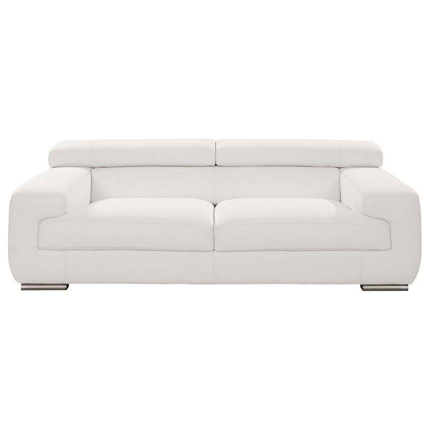 Grace White Leather Sofa  main image, 1 of 9 images.