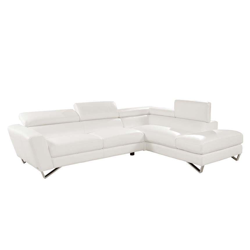 Sparta White Leather Sofa W/Right Chaise Main Image, 1 Of 8 Images.