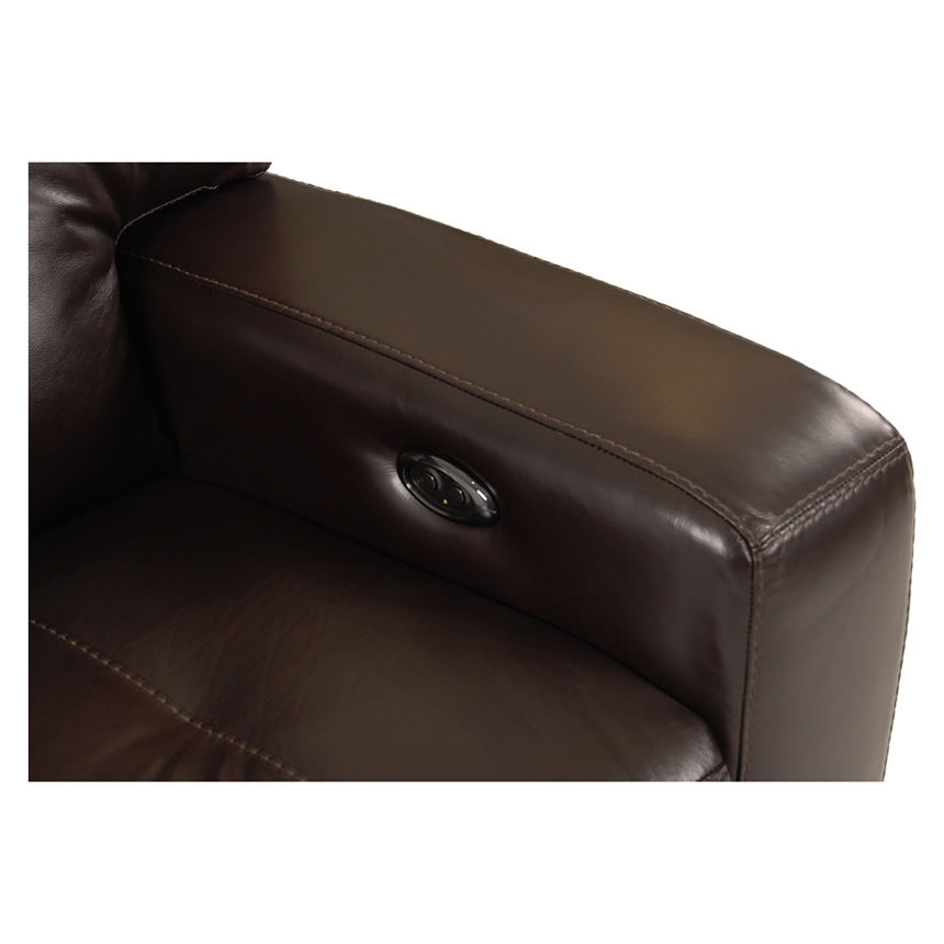 Owen Dark Walnut Power Motion Leather Sofa w/Sleeper  alternate image, 6 of 9 images.