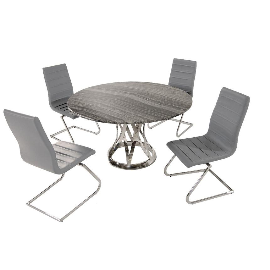 Janet Marble/Gray 5-Piece Formal Dining Set  main image, 1 of 8 images.