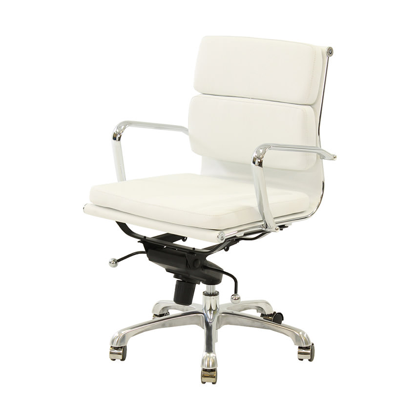 Marconi White Low Back Desk Chair  main image, 1 of 6 images.