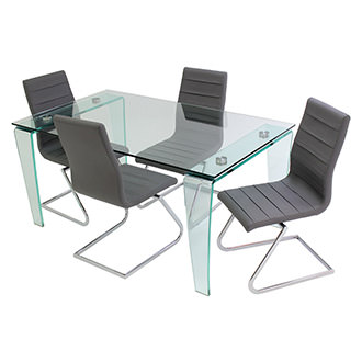 Vera/Janet Gray 5-Piece Casual Dining Set