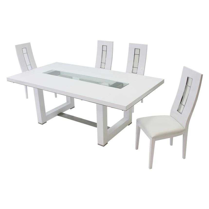 Novo White 5-Piece Formal Dining Set  main image, 1 of 12 images.
