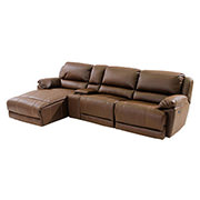 Augusto Chocolate Power Motion Sofa w/Left Chaise  main image, 1 of 10 images.