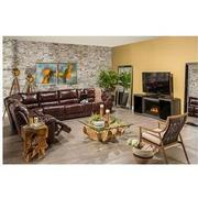 Theodore Burgundy Power Motion Leather Sofa w/Right & Left Recliners  alternate image, 2 of 9 images.