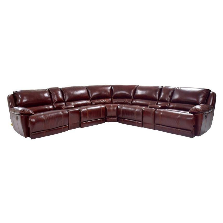 Theodore Burgundy Power Motion Leather Sofa w/Right & Left Recliners  main image, 1 of 8 images.