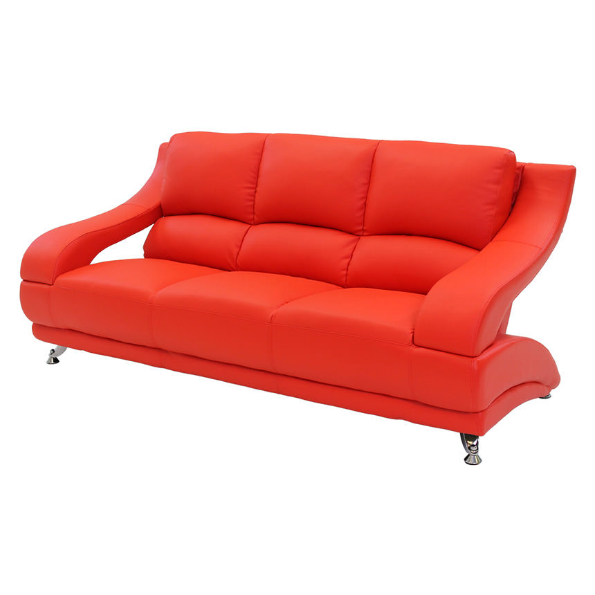 Jedda Red Leather Sofa Main Image, 1 Of 6 Images.