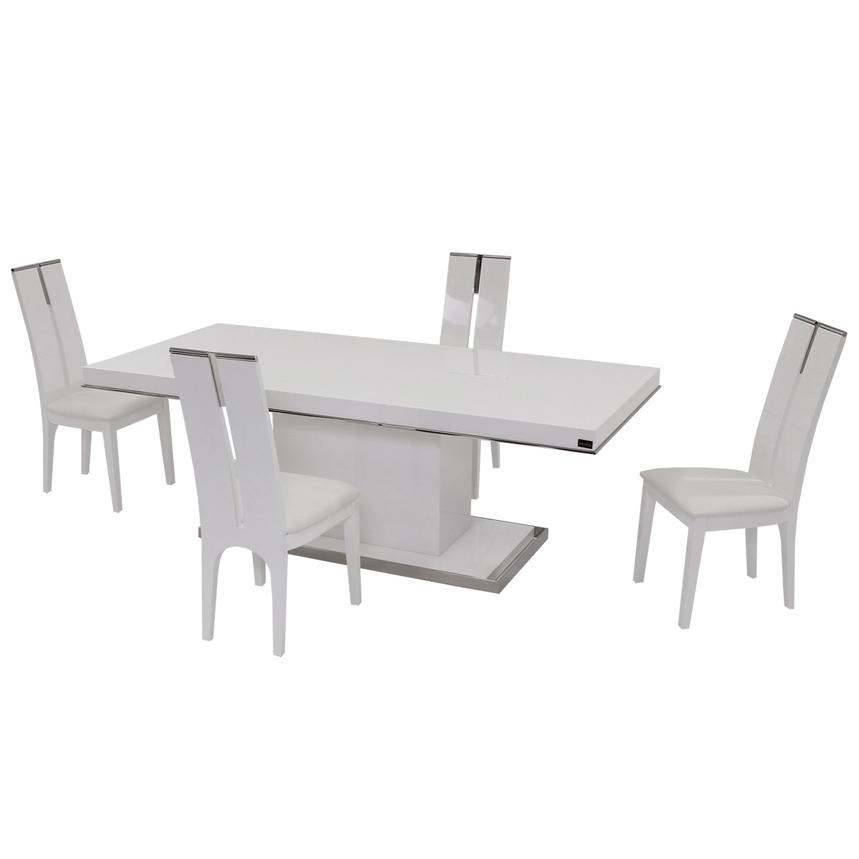 Cecilia/Avanti White 5-Piece Formal Dining Set  main image, 1 of 10 images.