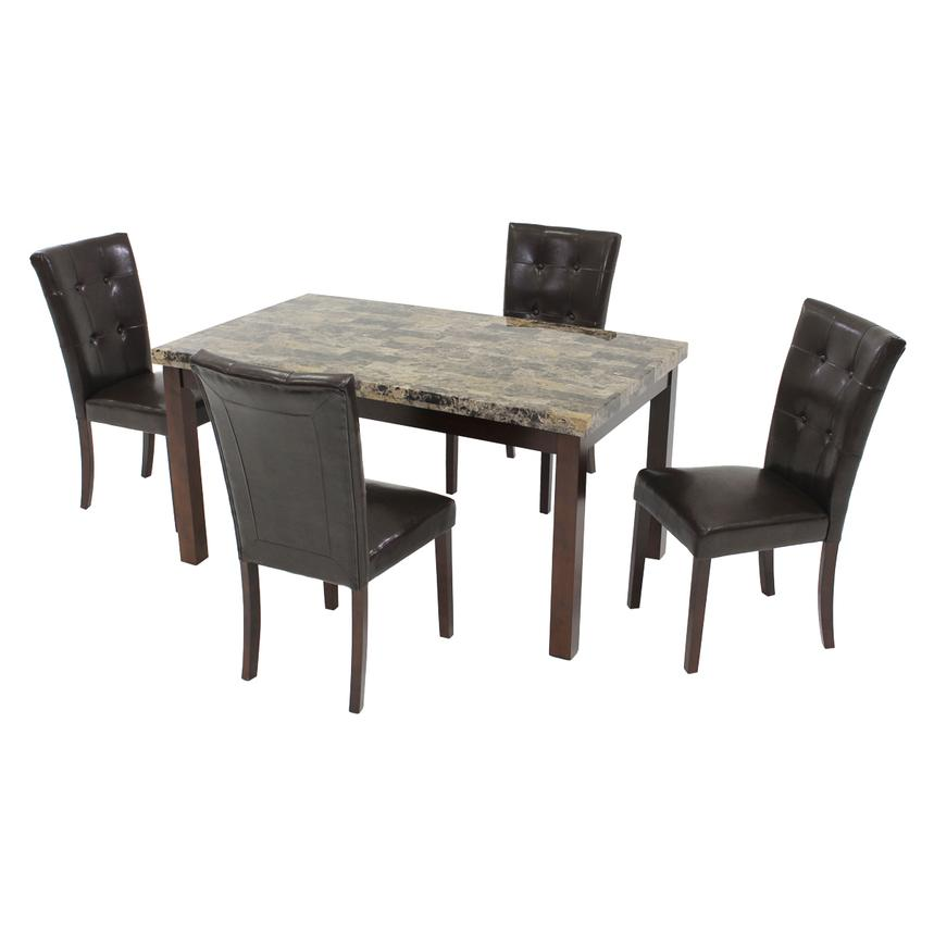 Achillea Brown 5-Piece Casual Dining Set  main image, 1 of 9 images.