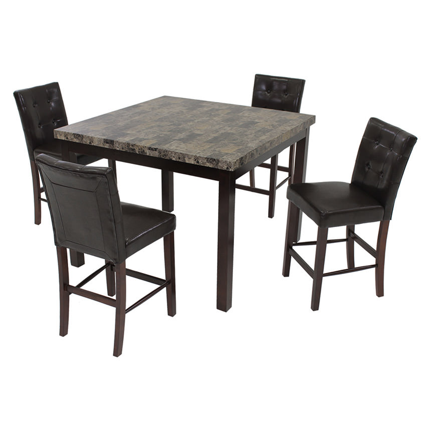 Achillea Brown 5-Piece High Dining Set  main image, 1 of 8 images.