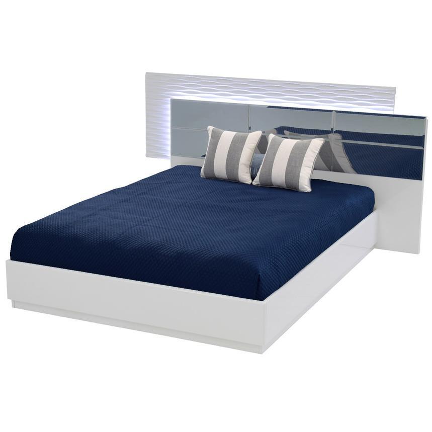 Manhattan White Mirrored Queen Platform Bed | El Dorado Furniture