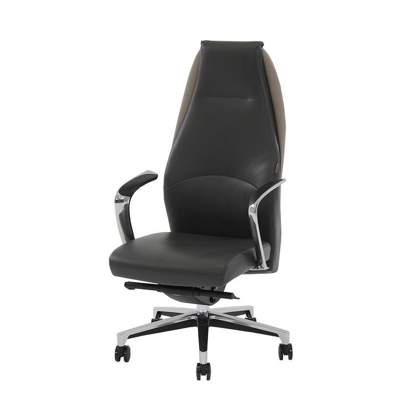 Prector Gray Leather Desk Chair  main image, 1 of 8 images.