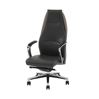 Prector Gray Leather Desk Chair