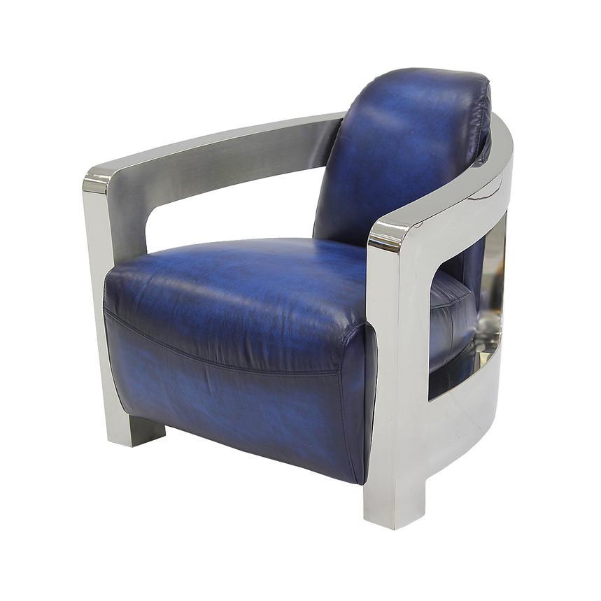 Aviator Blue Leather Accent Chair El Dorado Furniture