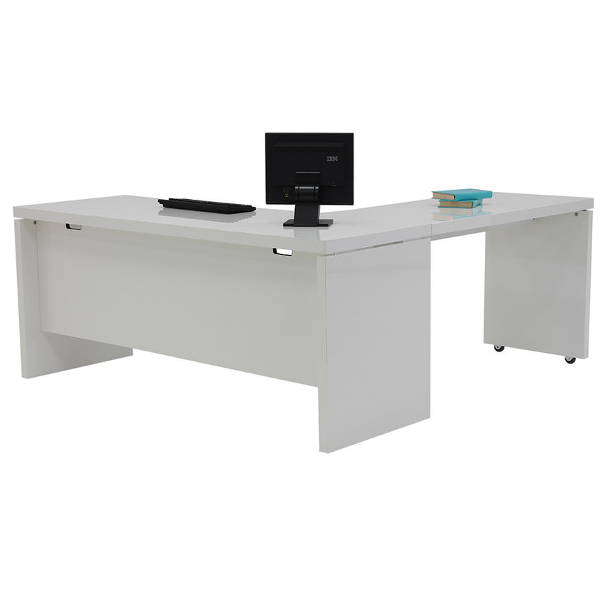Sedona White L-Shaped Desk Made in Italy  main image, 1 of 6 images.