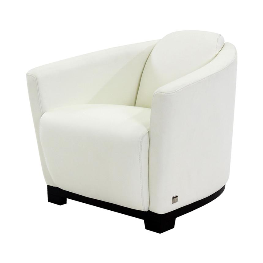 Fellini White Leather Accent Chair  main image, 1 of 7 images.