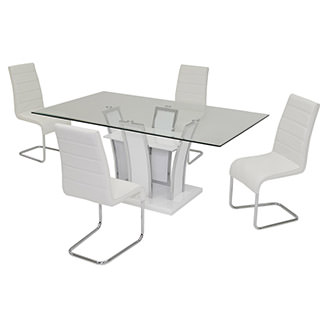 Dash White 5-Piece Casual Dining Set