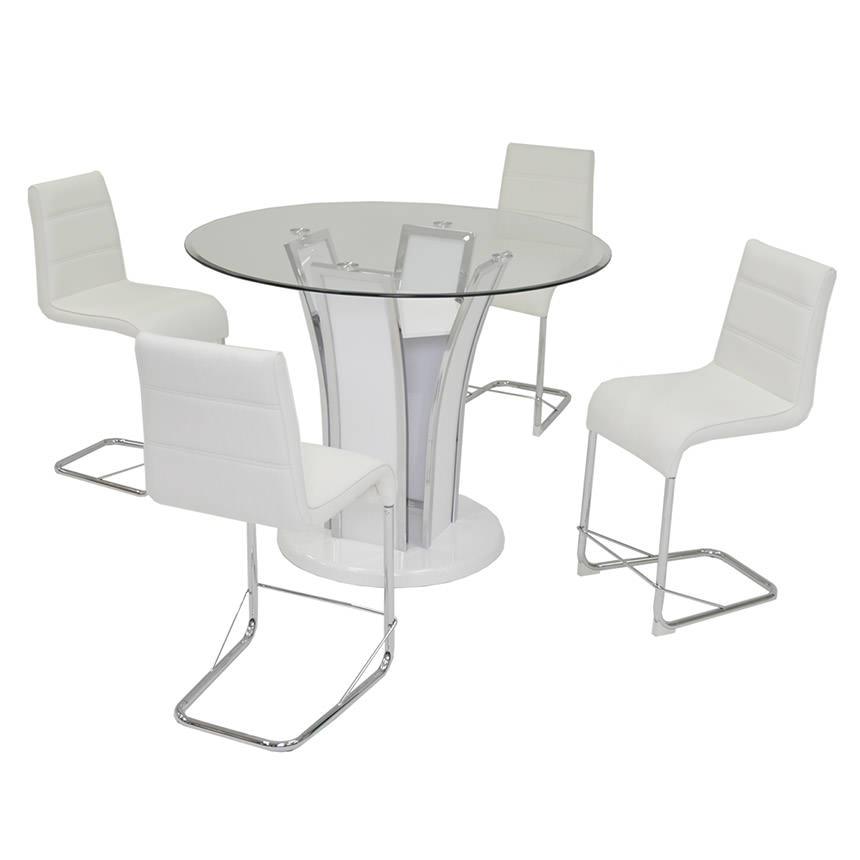 Dash White 5-Piece High Dining Set  main image, 1 of 8 images.