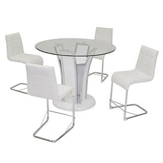 Dash White 5-Piece High Dining Set