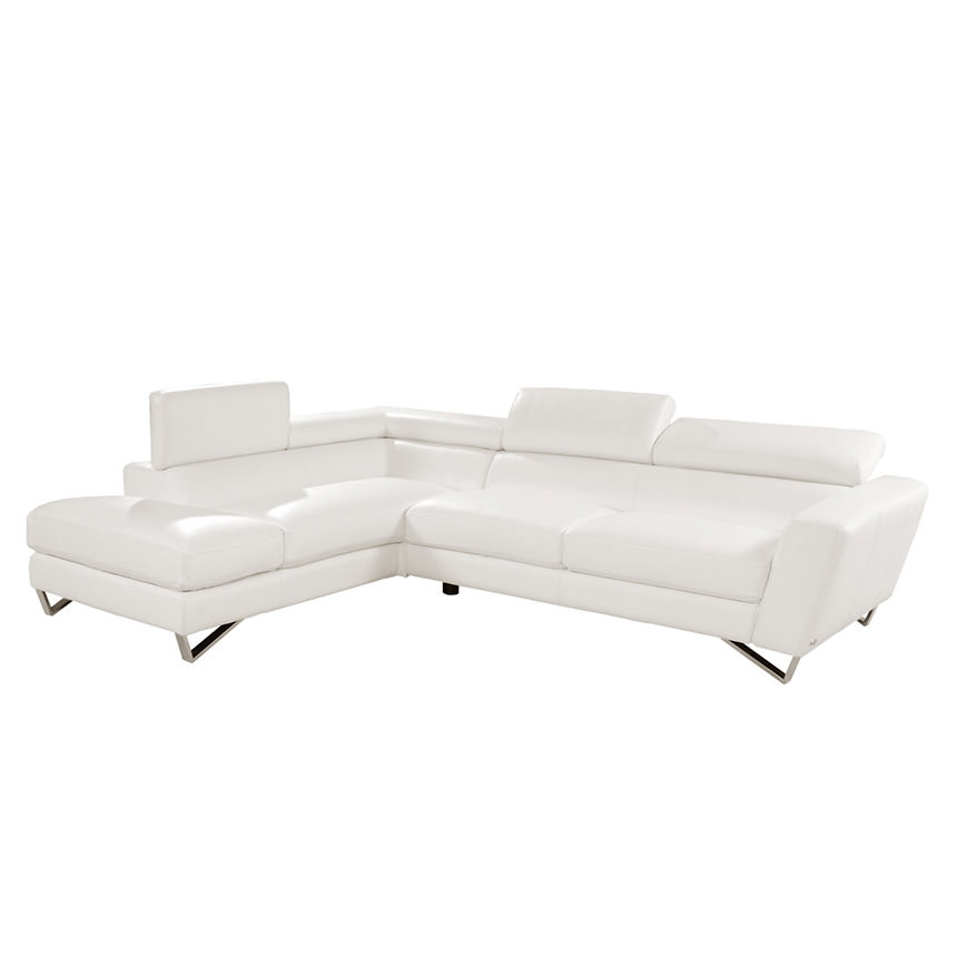 Sparta White Leather Sofa w/Left Chaise  main image, 1 of 5 images.