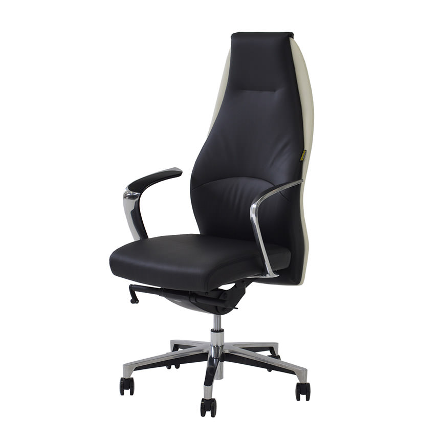 Prector Black/White Leather Desk Chair Main Image, 1 Of 7 Images.