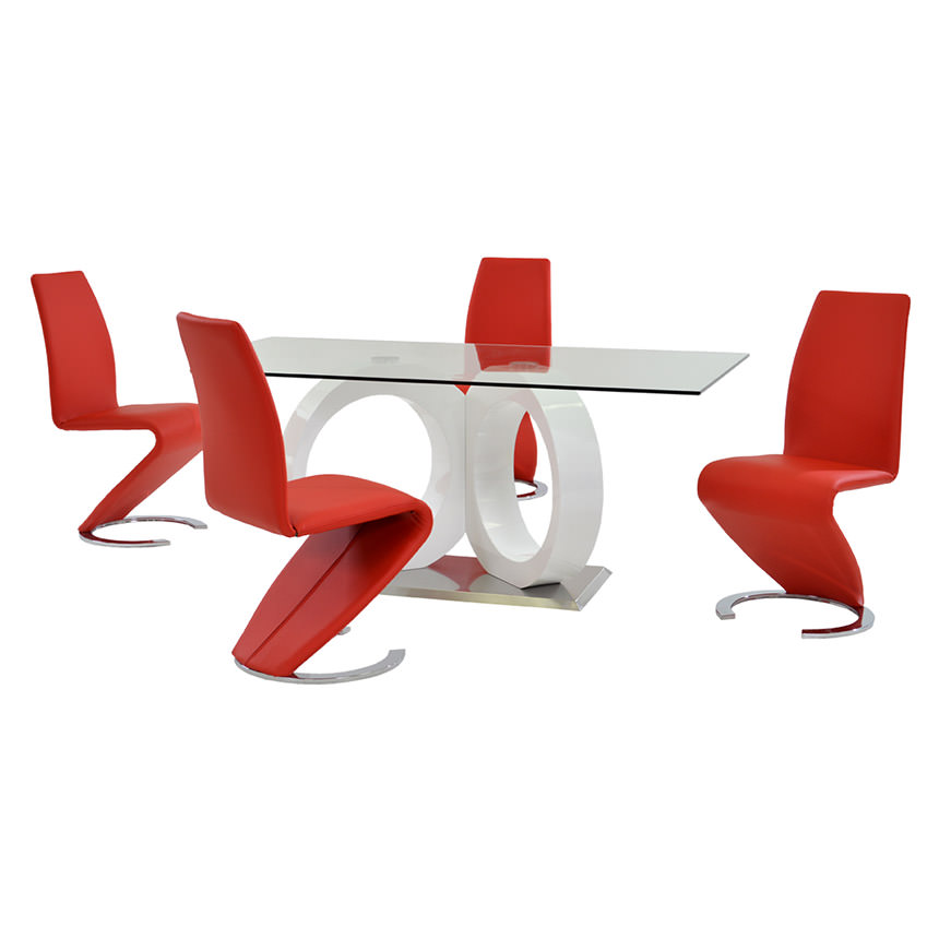 Stop 36 Red 5 Piece Formal Dining Set Main Image, 1 Of 12 Images