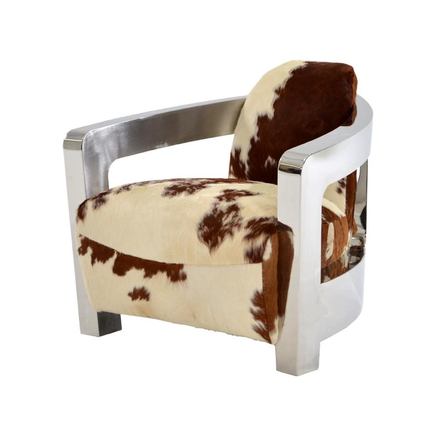 Aviator Brown Cowhide Leather Accent Chair Main Image, 1 Of 8 Images.
