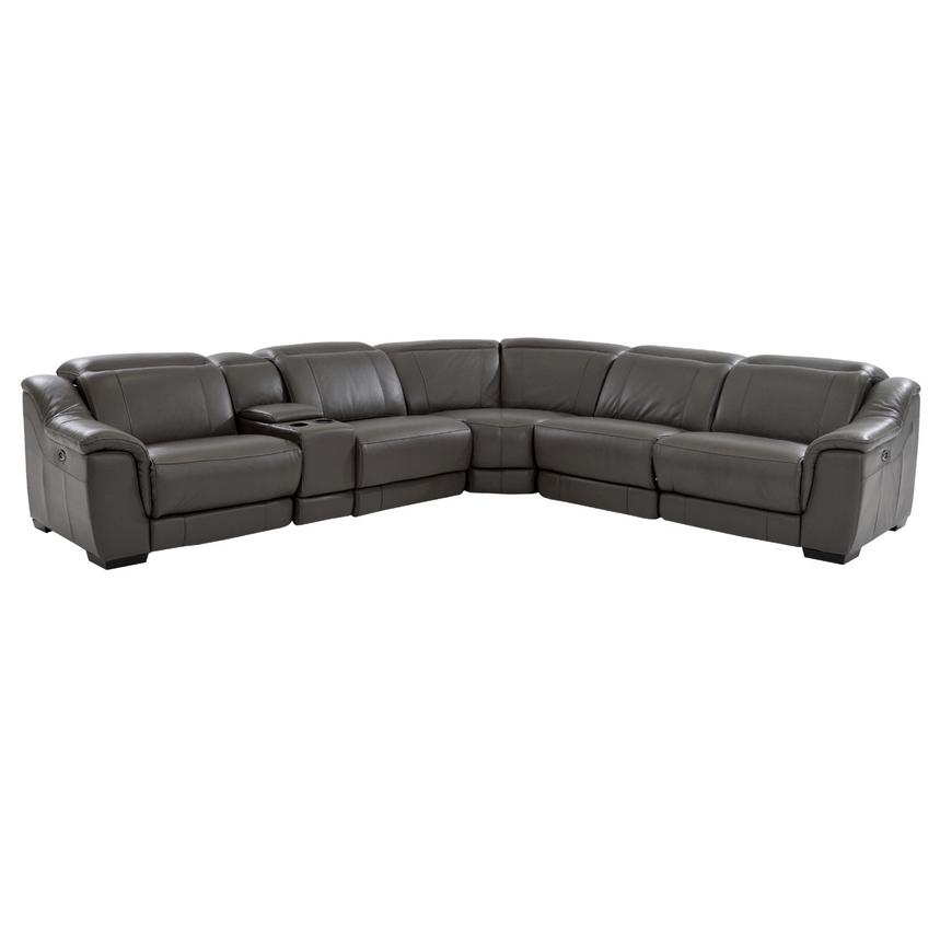 Davis Gray Power Motion Leather Sofa w/Right & Left Recliners  main image, 1 of 8 images.