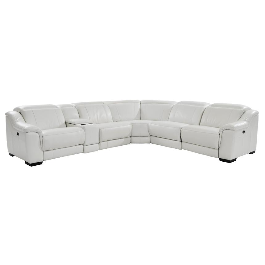 Davis White Power Motion Leather Sofa w/Right & Left Recliners  main image, 1 of 8 images.