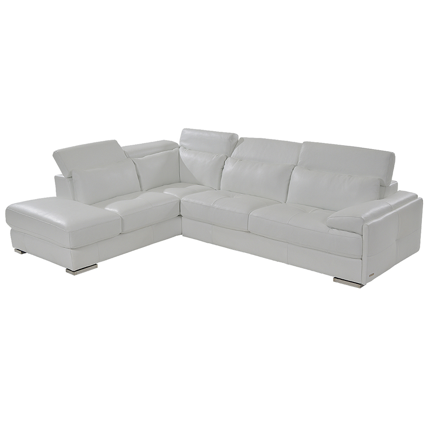 Kennedy White Leather Sofa w/Left Chaise  main image, 1 of 8 images.
