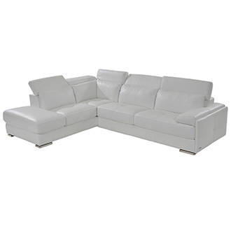 Kennedy White Leather Sofa w/Left Chaise