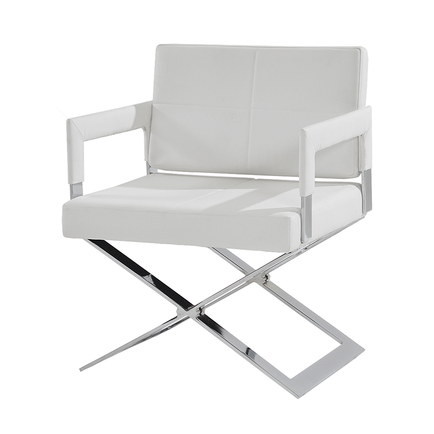 Superbe Dakota White Accent Chair Main Image, 1 Of 5 Images.