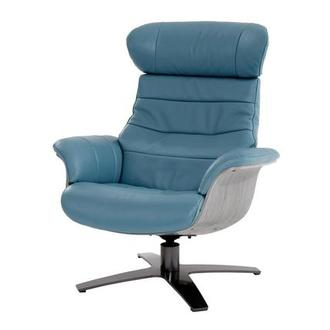 Enzo Blue Leather Swivel Chair
