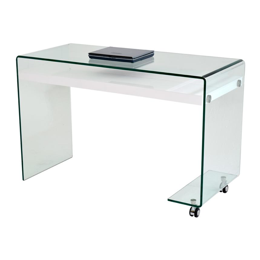 Mirage Clear Desk w/Casters  main image, 1 of 5 images.