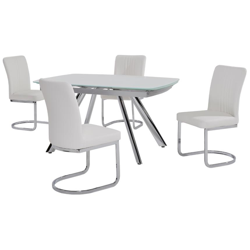 Alina White 5-Piece Casual Dining Set  main image, 1 of 8 images.