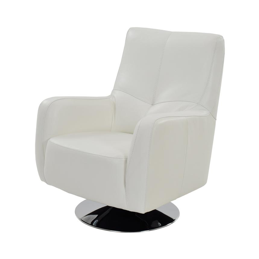 Verona White Leather Swivel Chair Main Image, 1 Of 6 Images.