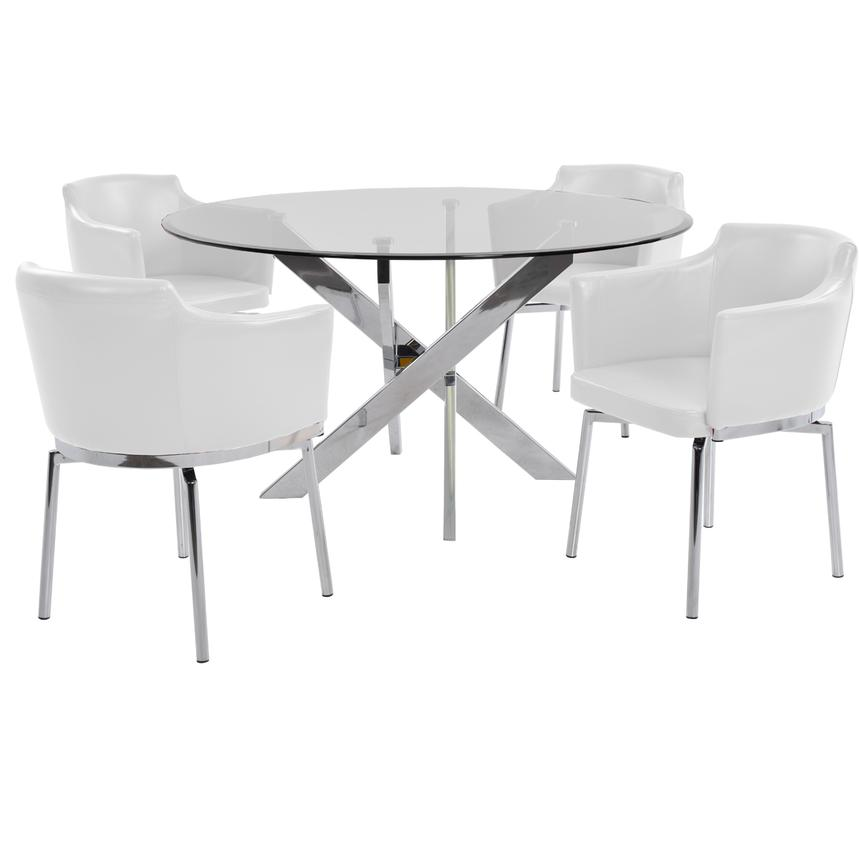 Dusty White 5 Piece Casual Dining Set Main Image, 1 Of 9 Images.