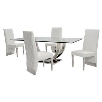 Ulysis White 5 Piece Formal Dining Set