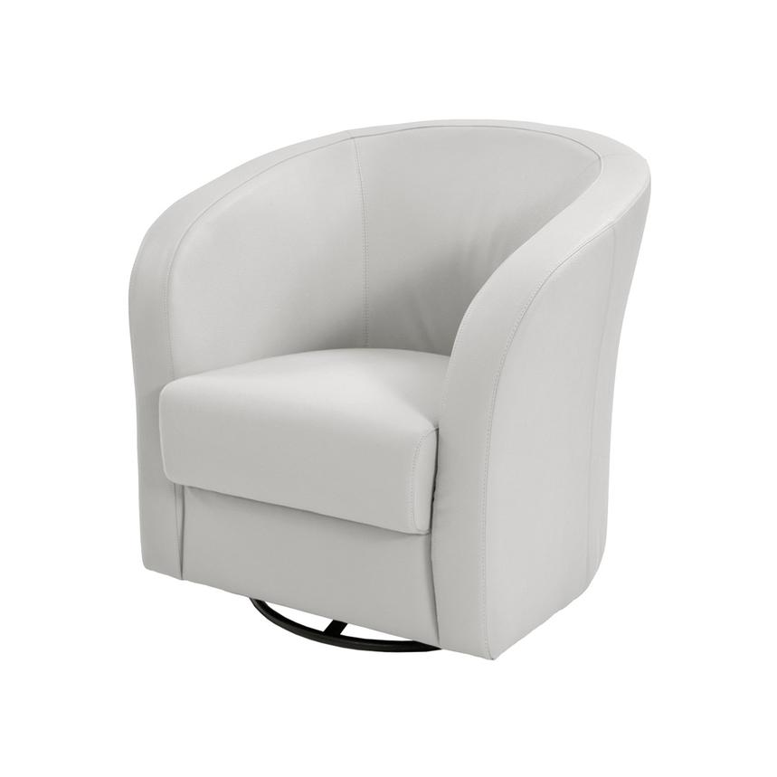 Delia White Swivel Accent Chair  main image, 1 of 6 images.
