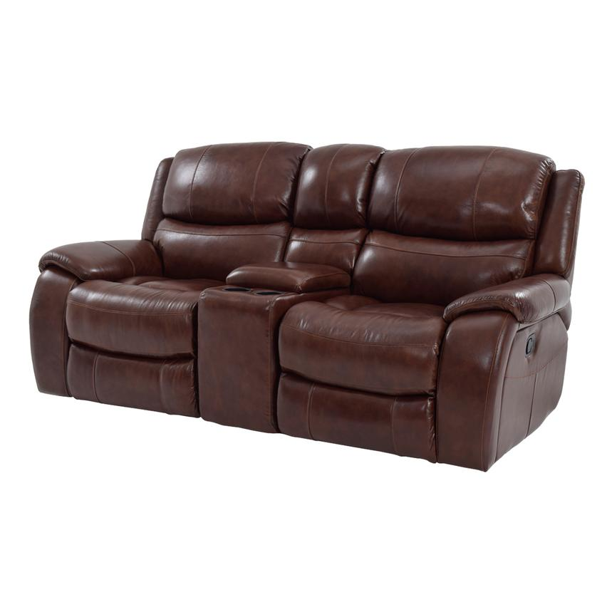 Beau Abilene Recliner Leather Sofa W/Console Main Image, 1 Of 9 Images.
