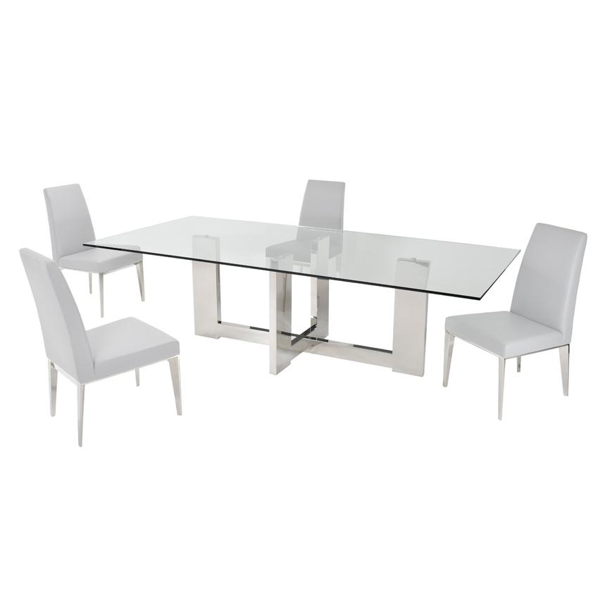 Opus White 5-Piece Formal Dining Set  main image, 1 of 10 images.