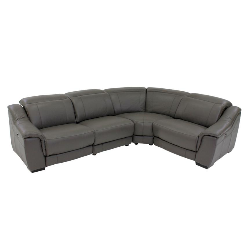 Davis Gray Power Motion Leather Sofa w/Right & Left Recliners  main image, 1 of 10 images.