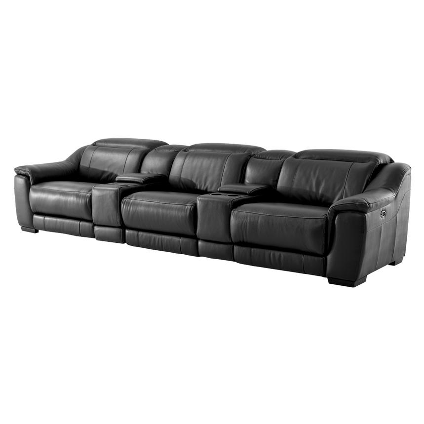 Davis Black Home Theater Leather Seating  main image, 1 of 9 images.