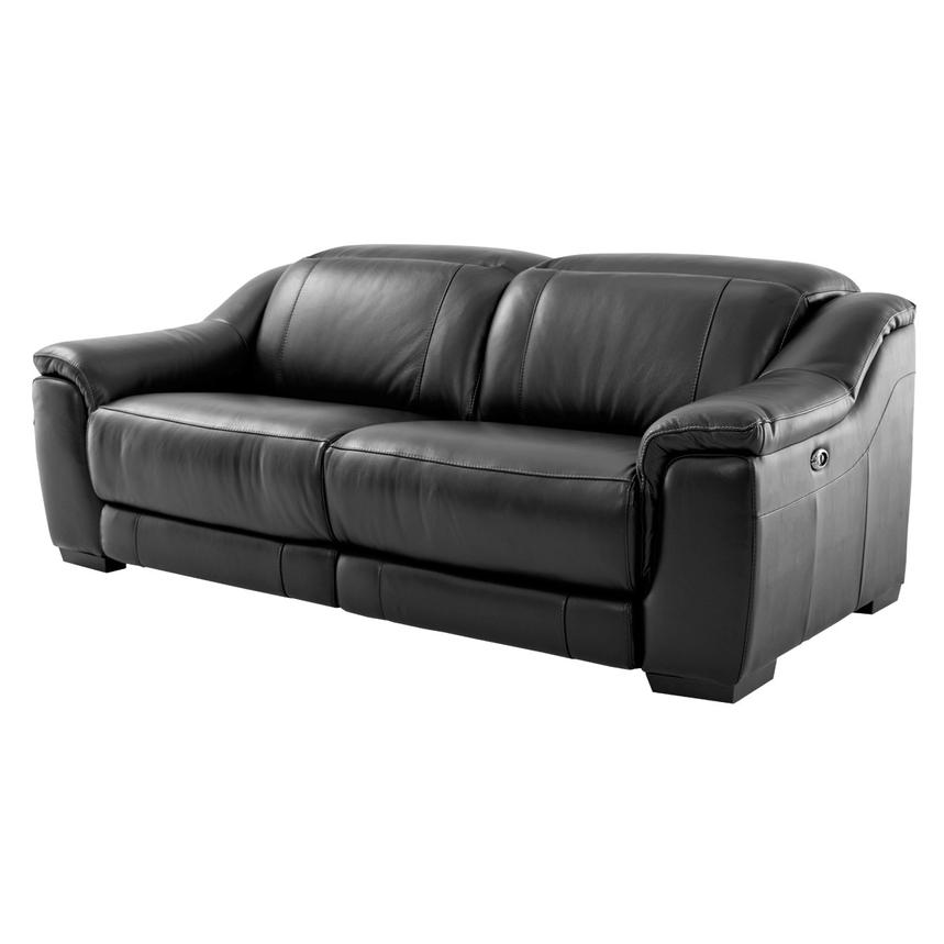 Davis Black Power Motion Leather Sofa  main image, 1 of 9 images.