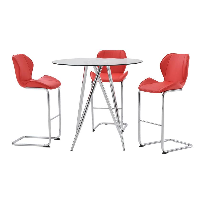 Latika Red 4-Piece High Dining Set  main image, 1 of 8 images.
